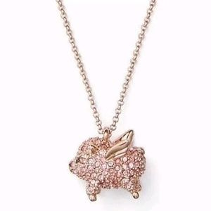 Kate Spade When Pigs Fly Pavé Rose Gold Necklace